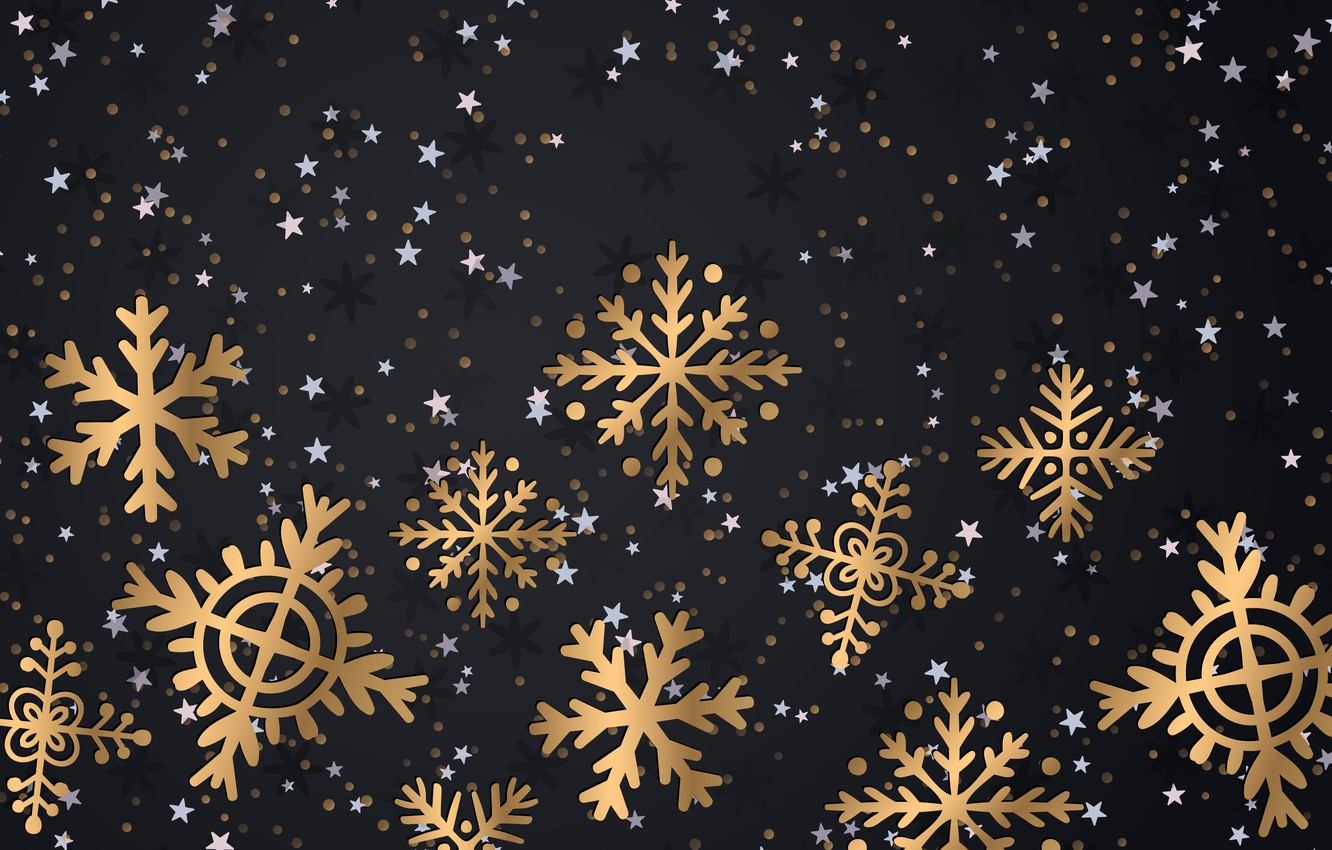 Photo wallpaper winter, snowflakes, background, gold, New Year, Christmas, golden, gold, black, Christmas, winter, background, New Year, …