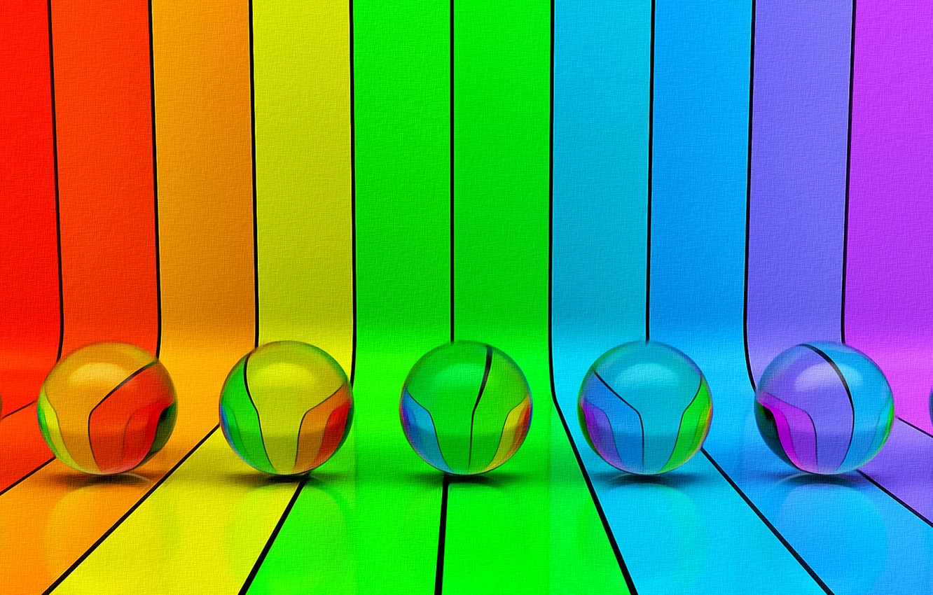 Photo wallpaper line, abstraction, fantasy, balls, figure, curves, picture, the colors of the rainbow, colored stripes, acrylic ...