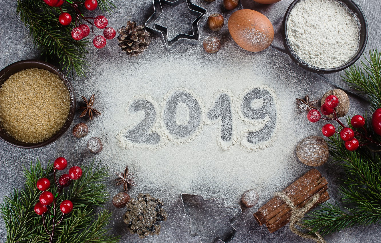 Photo wallpaper decoration, New Year, Christmas, Christmas, New Year, decoration, xmas, Merry, fir tree, fir-tree branches, 2019