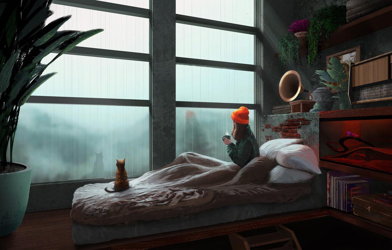Photo wallpaper sadness, kitty, books, pillow, girl, the shower, in the room, quarantine, shelves, window, gramafon, ficus, …