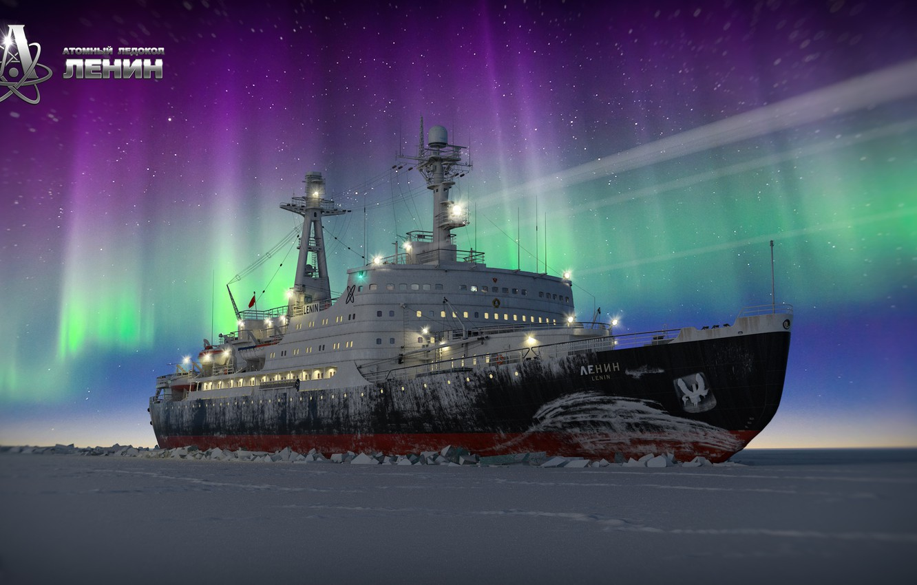 Photo wallpaper Winter, Night, Snow, Ice, Icebreaker, The ship, Polar Lights, The Lord Of The Arctic, Denis ...