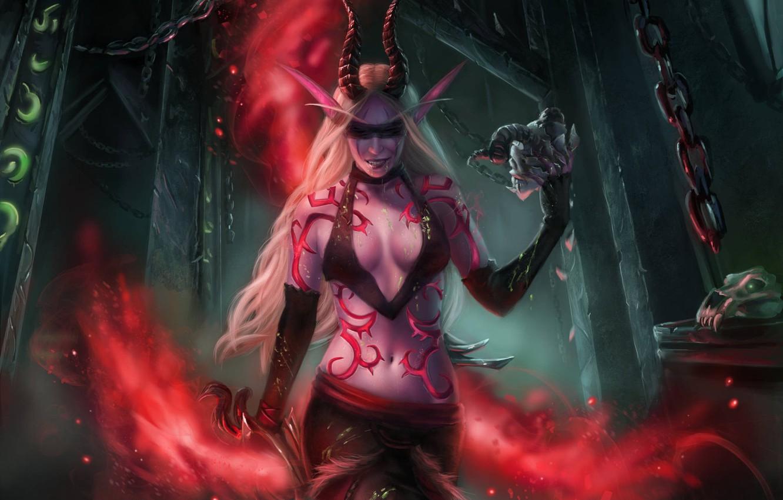 Photo wallpaper girl, art, WOW, elf, demon hunter, demon hunter, World Of Warcraft