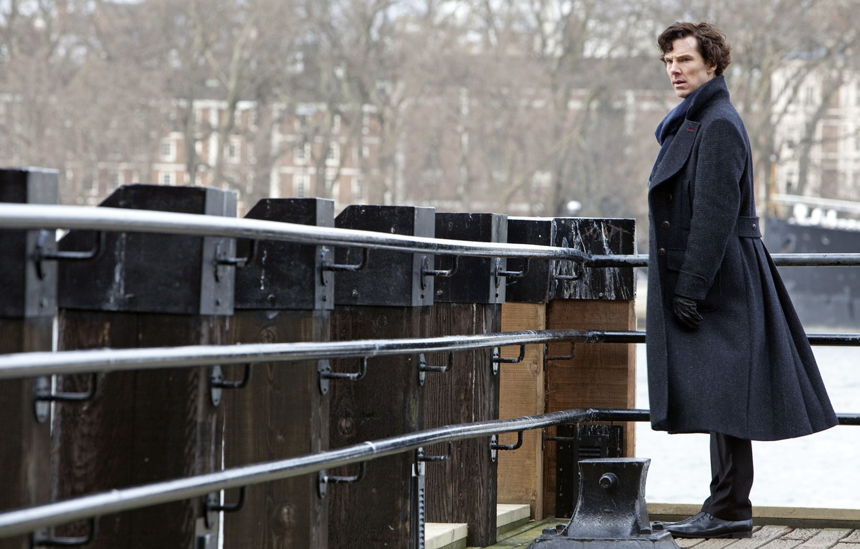 Photo wallpaper bridge, coat, Benedict Cumberbatch, Benedict Cumberbatch, still from the film, Sherlock, Sherlock BBC, Sherlock Holmes, …
