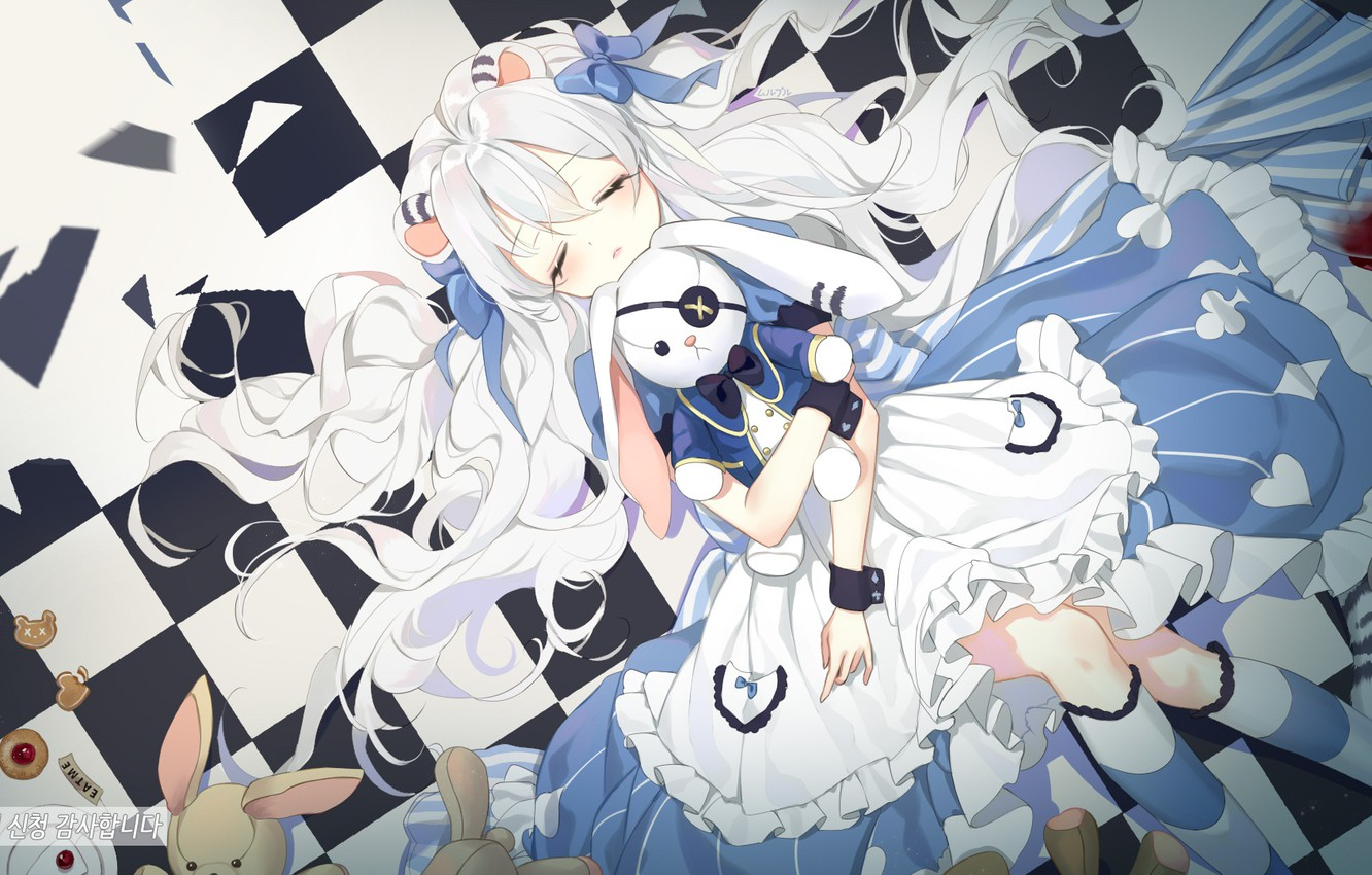 Wallpaper Sleeping Rabbits Alice Girl Art Alise In Wonderland