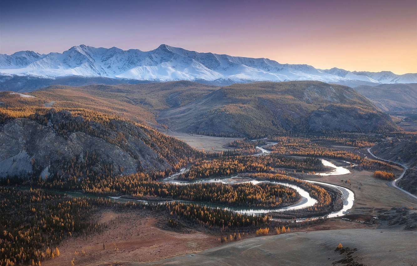 Photo wallpaper autumn, forest, the sky, mountains, river, hills, the slopes, tops, valley, haze, pond, snake, snow