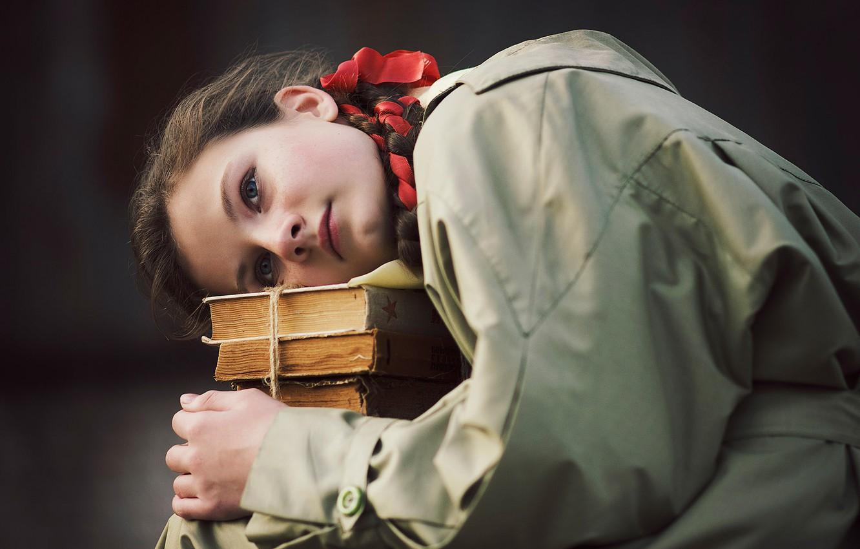 Photo wallpaper face, background, mood, books, portrait, girl, schoolgirl, cloak, Alex Grisyuk