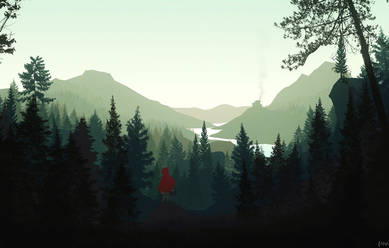 Wallpaper Minimalism The Game Trees Forest Style Landscape Art Little Red Riding Hood Forest Characters Firewatch Character Environments Storytelling By Asim Salman Asim Salman Images For Desktop Section Minimalizm Download