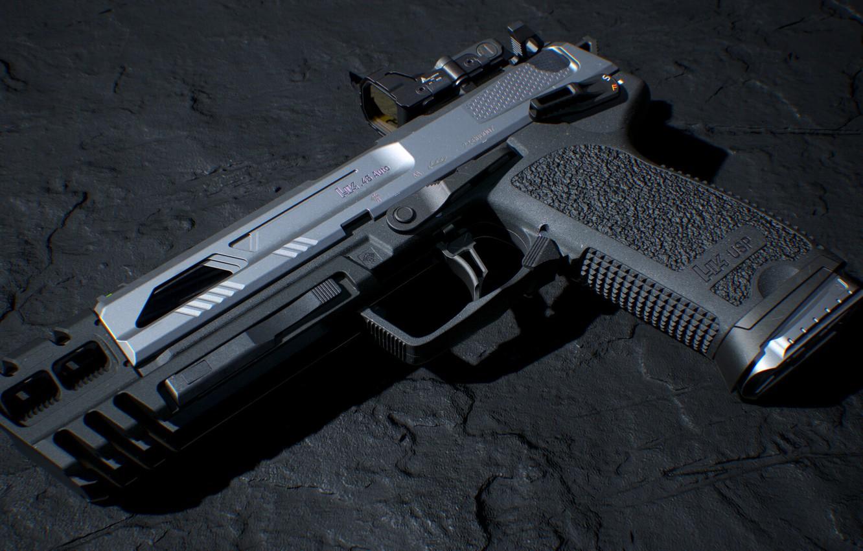 Photo wallpaper rendering, gun, Weapons, gun, pistol, weapon, render, render, Tactical, 3d art, Heckler Koch, HK USP …