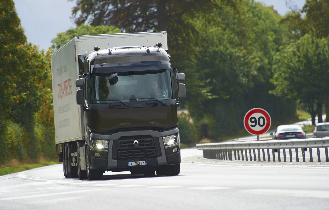 Photo wallpaper sign, the fence, truck, Renault, tractor, 4x2, the trailer, Renault Trucks, T-series
