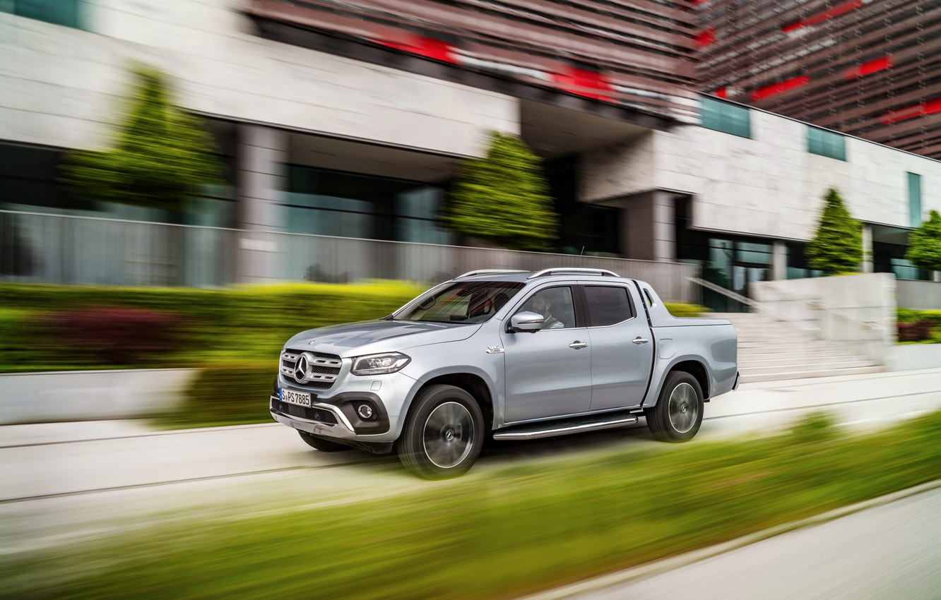 Photo wallpaper the city, Mercedes-Benz, speed, pickup, 2018, X-Class, gray-silver