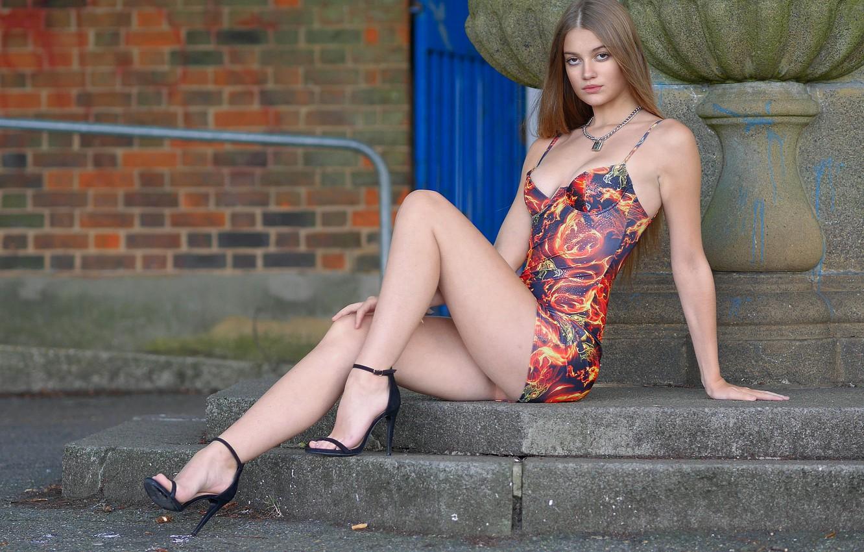 Photo wallpaper look, sexy, model, hair, beauty, Sophie, dress, beautiful legs