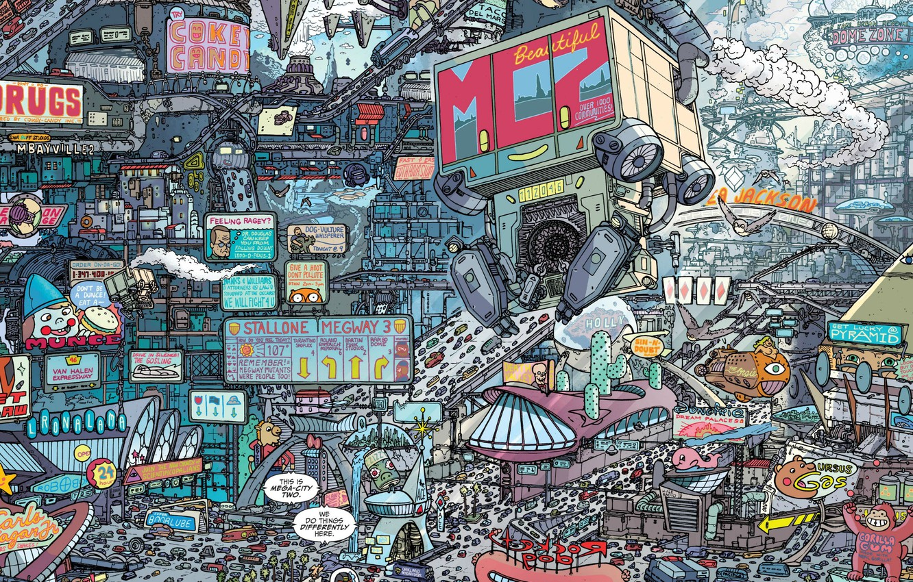 Photo wallpaper Figure, The city, City, Art, Fiction, Future, Judge Dredd, Cyberpunk, by Ulises Farinas, Lineart, Ulises …