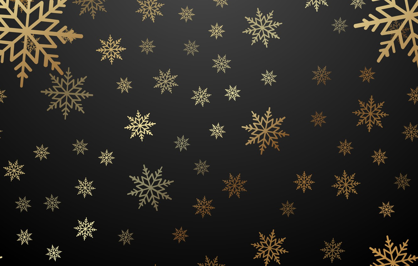 Photo wallpaper winter, snowflakes, gold, New Year, Christmas, golden, black background, gold, black, Christmas, winter, background, New ...