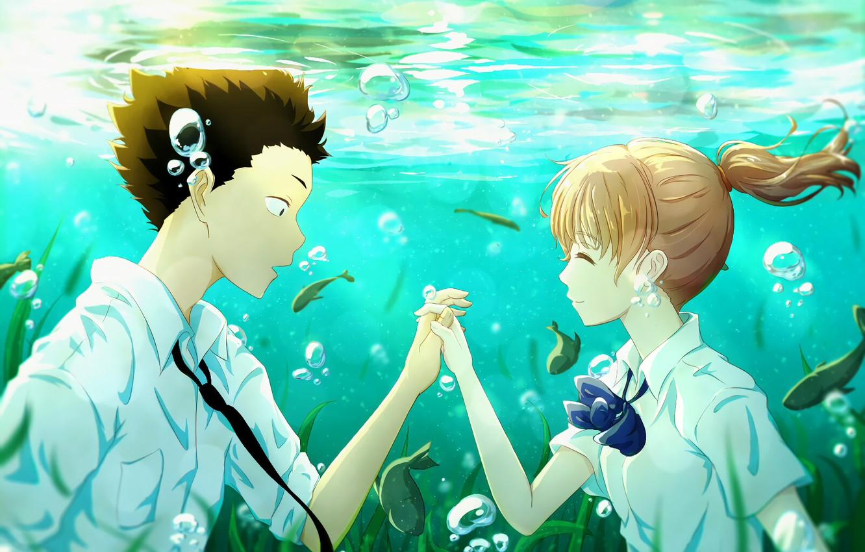 Wallpaper Girl Fish Romance Anime Guy Under Water 2016