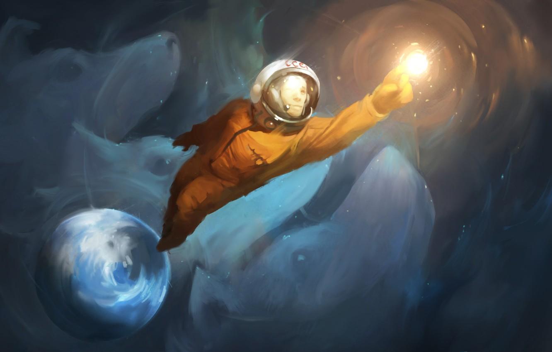 Photo wallpaper earth, Stars, Space, Astronaut, USSR, Gagarin, Yuri Gagarin, Go!