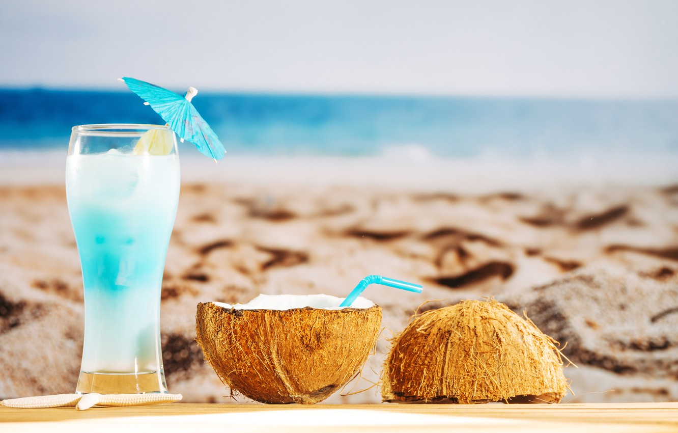 Photo wallpaper sand, sea, beach, summer, stay, coconut, cocktail, summer, beach, vacation, sand, fruit, drink, coconut, vacation, …