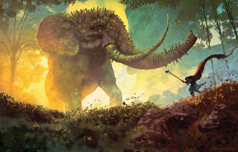 Photo wallpaper nature, elephant, fantasy, painting