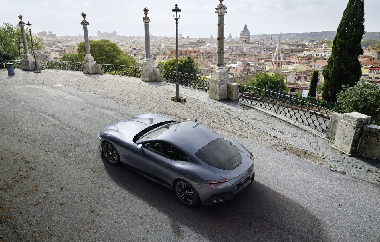 Photo wallpaper Italy, Ferrari, supercar, the view from the top, Roma, 2020