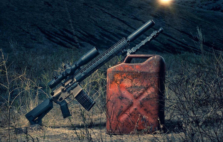 Photo wallpaper weapons, dawn, optics, canister, assault rifle