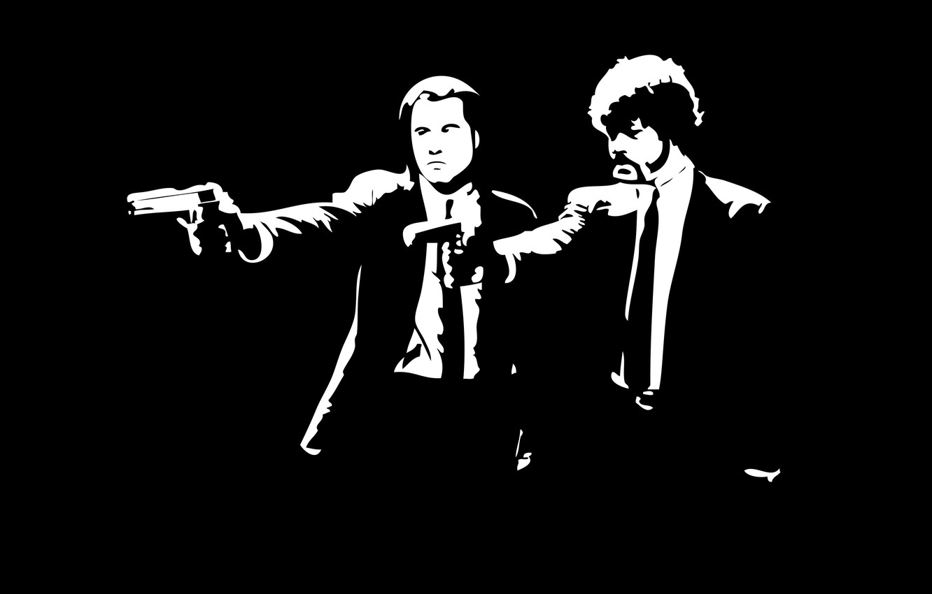 Photo wallpaper the film, pulp fiction, black and white