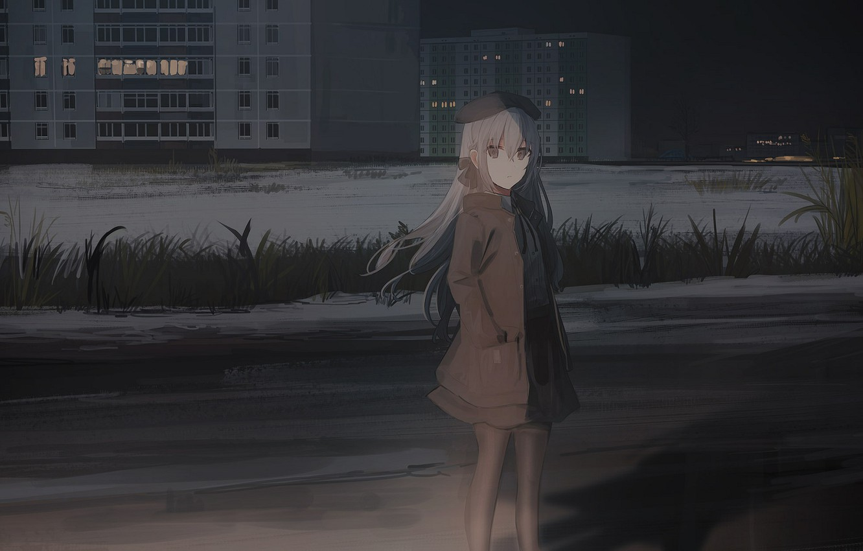 Photo wallpaper grass, girl, night, the city, street