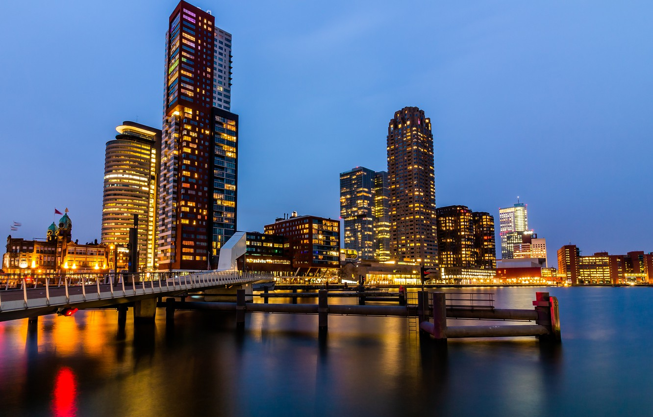 Photo wallpaper lights, the evening, Netherlands, Holland, Rotterdam