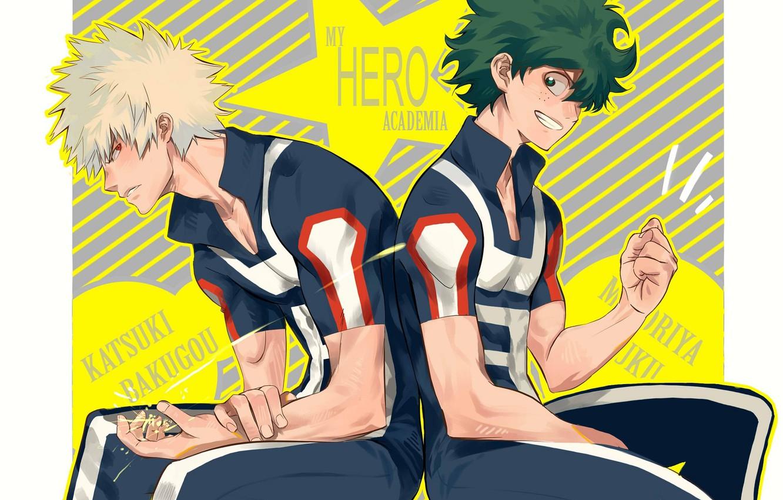 Photo wallpaper Boku no Hero Academy, My hero Academy, Midori Isuku, Bakuga Katsuki