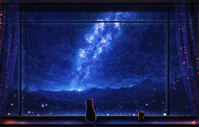 Photo wallpaper cat, night, rain, window, mug, the milky way, by Miloecute