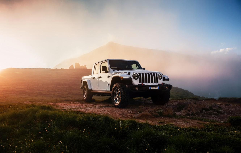 Photo wallpaper white, light, vegetation, SUV, pickup, Gladiator, 4x4, Jeep, Rubicon, 2019