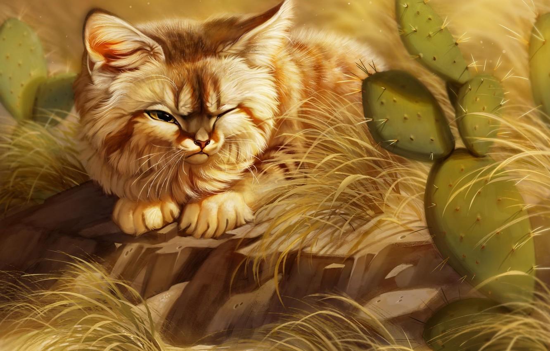 Photo wallpaper cat, cactus, by Pixxus
