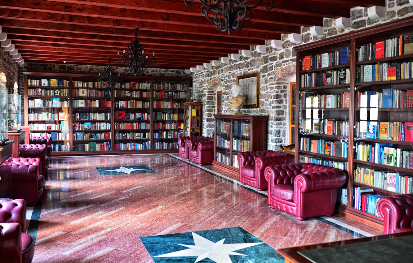 Photo wallpaper books, interior, chairs, library