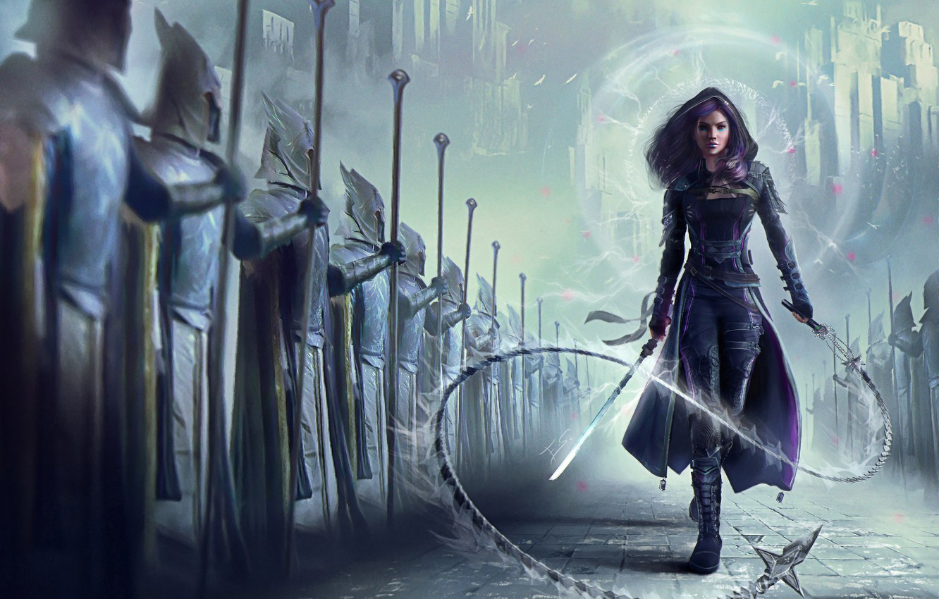 Photo wallpaper girl, fiction, sword, army, art, soldiers, cloak, whip