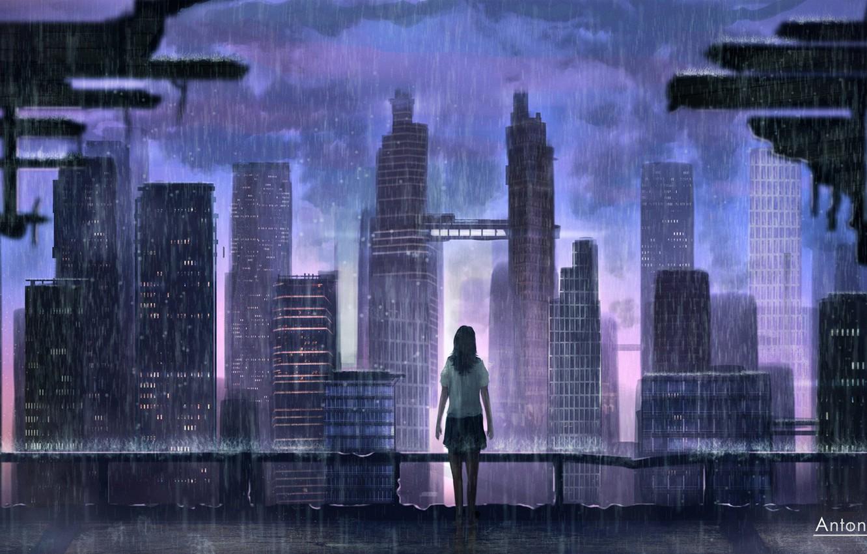 Photo wallpaper Girl, The city, Rain, Fantasy, Art, Concept Art, The shower, illustration, by Jorge Gonzalez, ShortFilm …