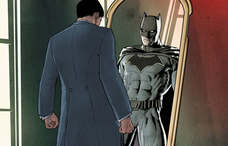 Photo wallpaper fantasy, Batman, comics, reflection, artwork, mask, superhero, costume, DC Comics, mirror, Bruce Wayne, cape, alias