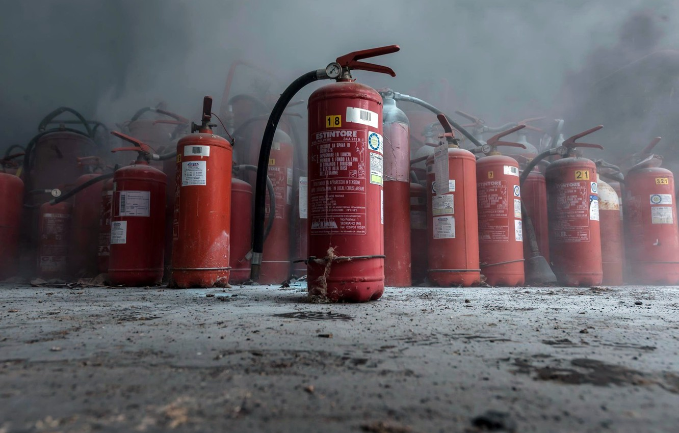 Photo wallpaper background, smoke, fire extinguishers