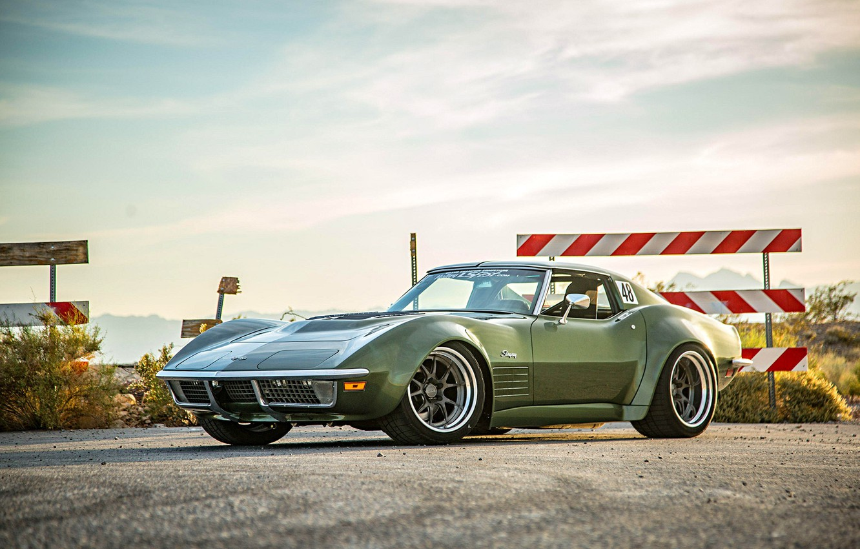 Photo wallpaper Corvette, Green, 1970, Stingray, Wheels, Forgeline