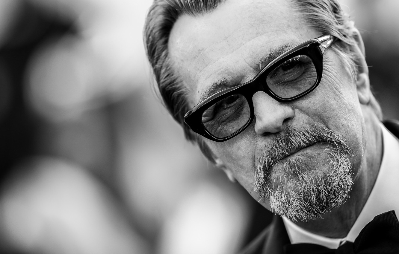 Photo wallpaper look pose glasses actor black and white gary oldman