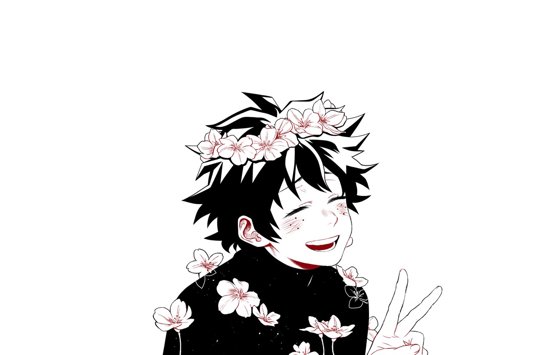 Photo wallpaper flowers, guy, My Hero Academia, Boku No Hero Academy, Midori Isuku, My Hero Academy