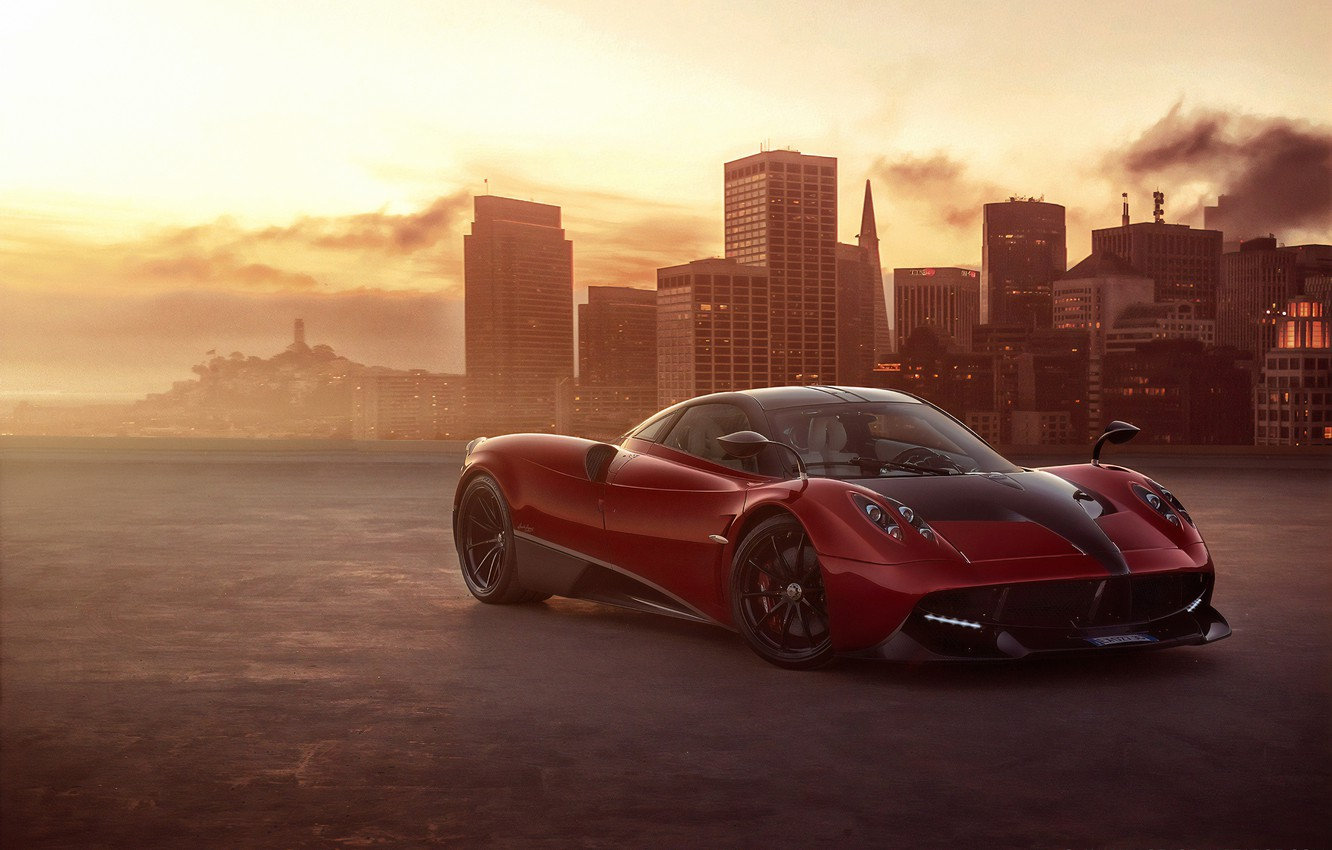 Photo wallpaper sunset, the evening, supercar, Pagani, To huayr