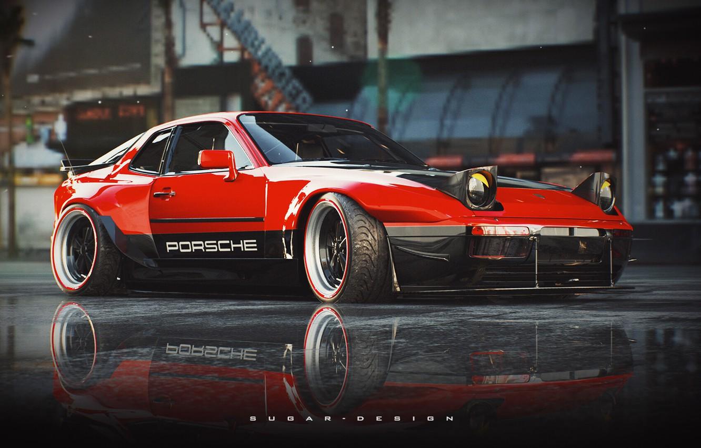 Photo wallpaper Red, Auto, Porsche, Retro, Machine, Style, Car, Rendering, 944, Transport & Vehicles, by Sugar Chow, …