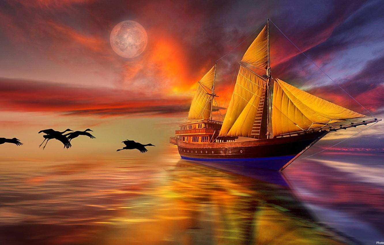 Photo wallpaper sea, the sky, birds, sailboat