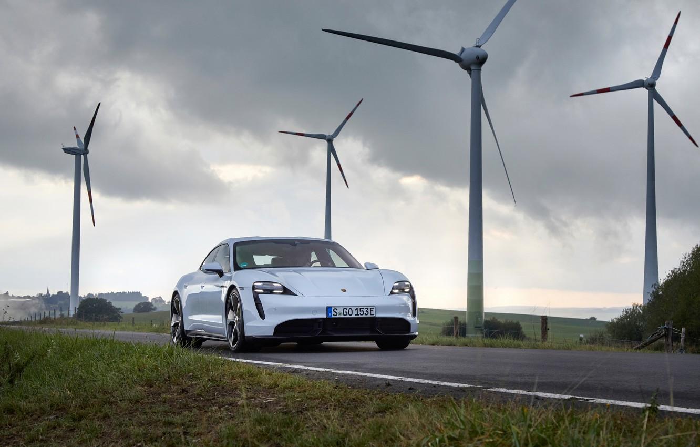 Photo wallpaper road, Porsche, Turbo S, 2020, Taycan, wind power