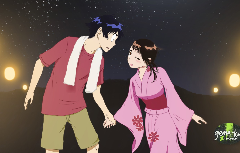 Photo wallpaper girl, night, romance, anime, art, guy, two, Nisekoi, Feigned love