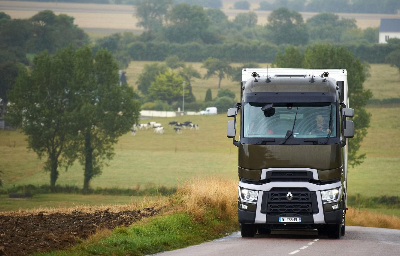 Photo wallpaper trees, field, truck, Renault, roadside, tractor, 4x2, the trailer, Renault Trucks, T-series