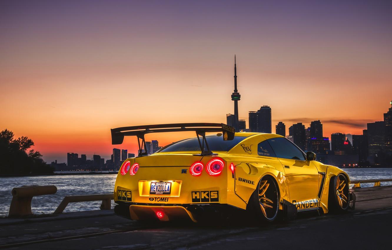 Photo wallpaper sunset, tuning, the evening, Canada, Nissan, GT-R, Toronto, Canada, tuning, Toronto, Liberty Walk, Pandem