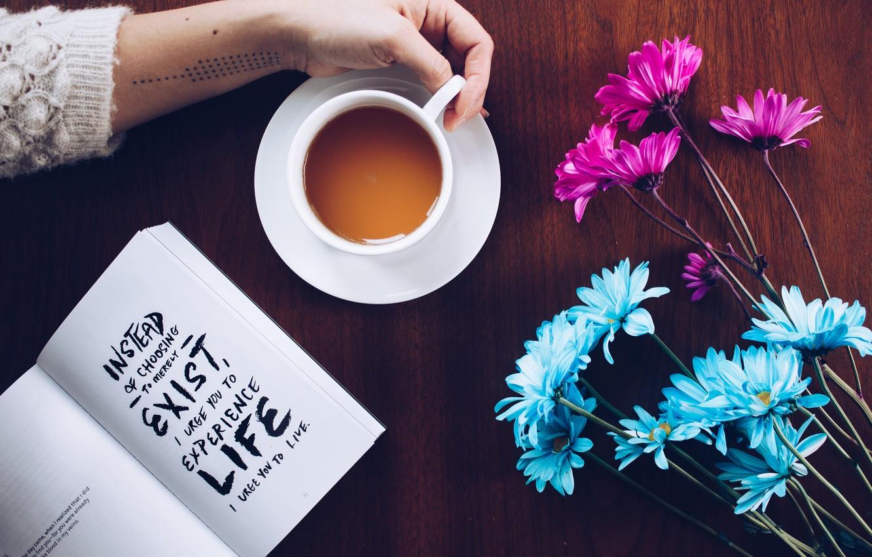 Photo wallpaper wallpaper, text, flowers, book, coffee, hand, motivation, moods