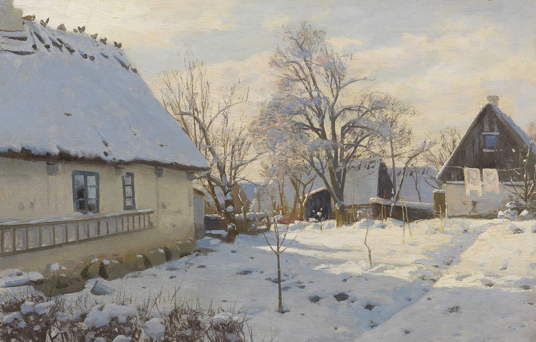 Photo wallpaper 1923, Danish painter, Peter Merk Of Menstad, Peder Mørk Mønsted, Danish realist painter, Winter in …