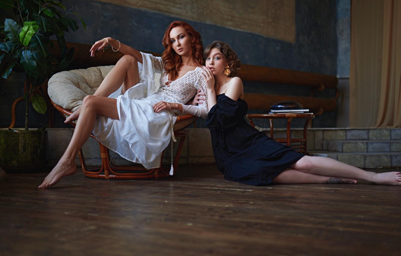 Photo wallpaper chair, legs, a couple, two girls, on the floor, dresses, Olga Pushkina, Sergey Fat, Sergey …