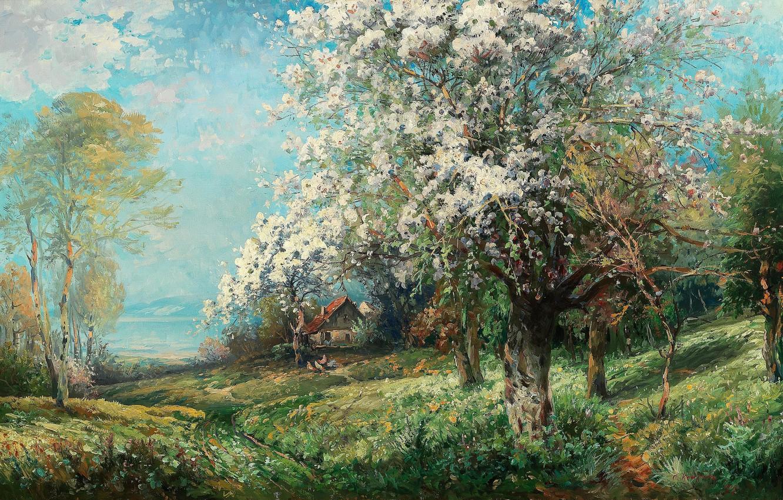 Photo wallpaper 1907, Austrian painter, Austrian painter, oil on canvas, Flowering (Normandy), Adolf Kaufmann, Flowering (Normandy), Adolf …
