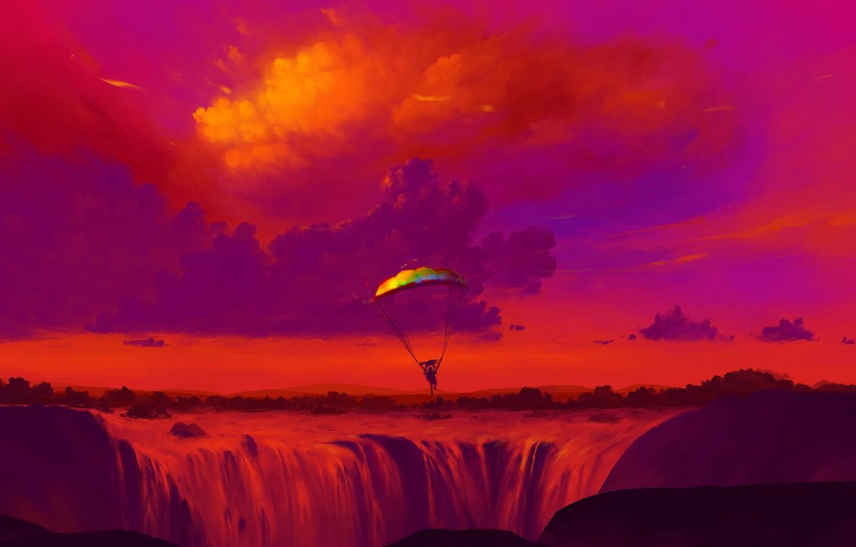 Photo wallpaper sport, river, sky, nature, sunset, art, clouds, people, artist, digital art, waterfalls, artwork, person, parachutes, …
